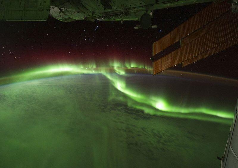 Diese prachtvolle Aurora borealis fotografierten Astronauten von Bord der Internationalen Raumstation ISS aus. (Bild: NASA/JSC)