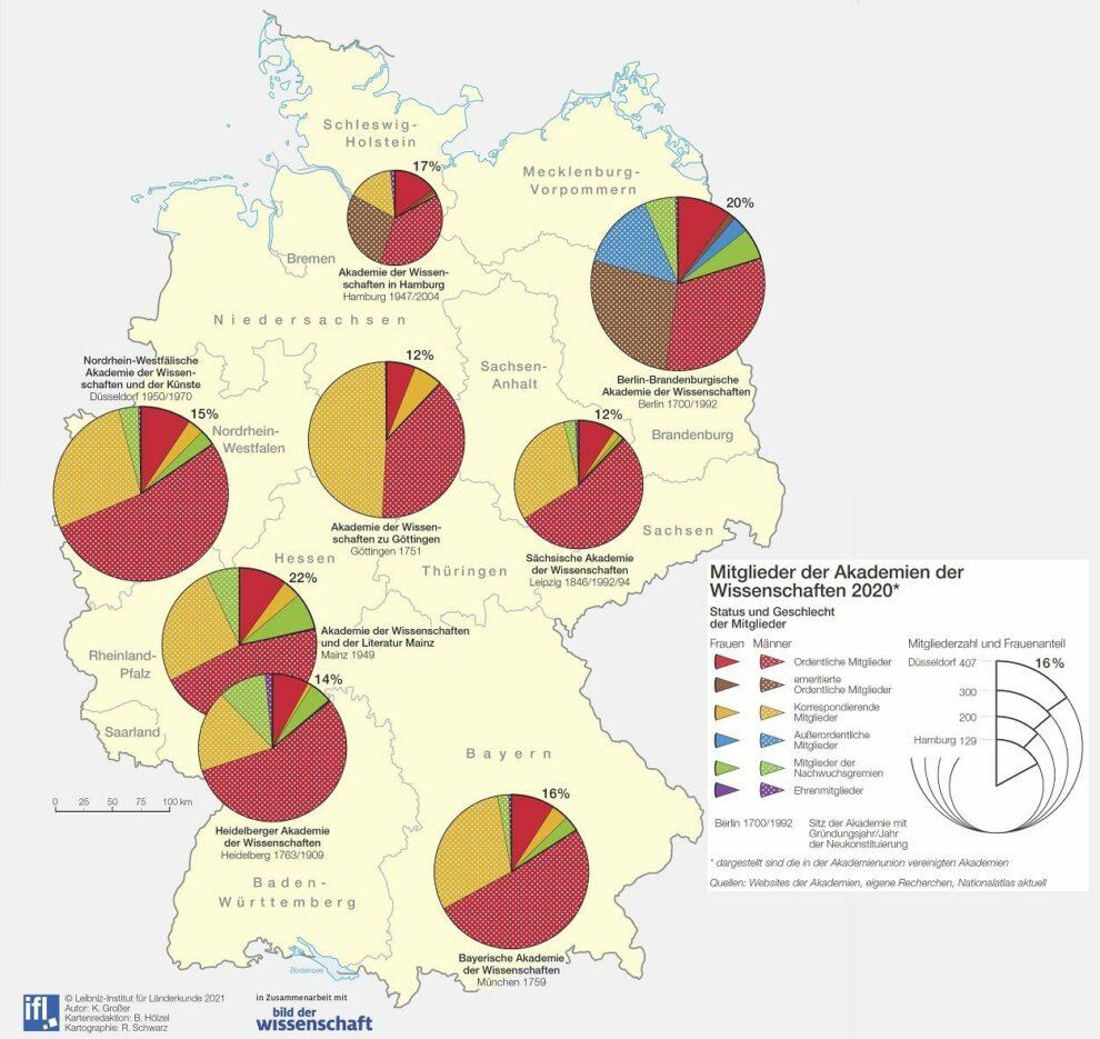 Deutschlandkarte Akademien der Wissenschaften 06/2021