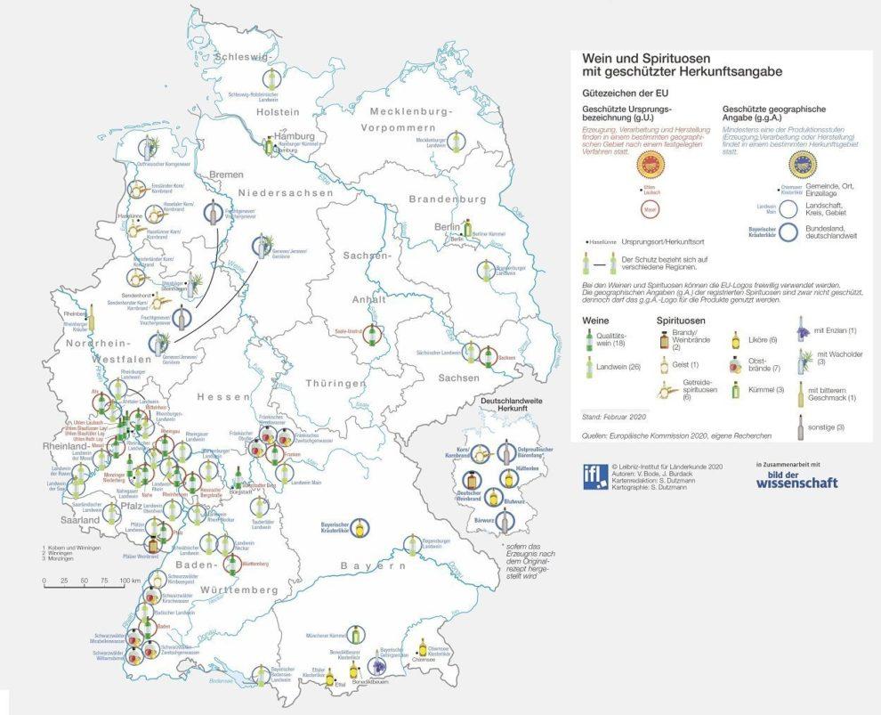 D-Karte Regionale Weine und Spirituosen