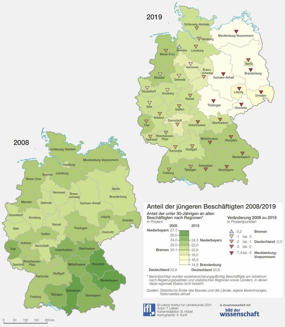 Deutschlandkarte Weniger junge Arbeitnehmer 07/2021