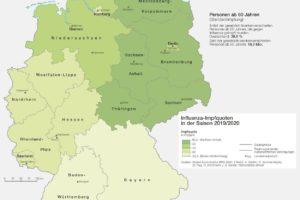 Deutschlandkarte Grippeschutz, 03/2021