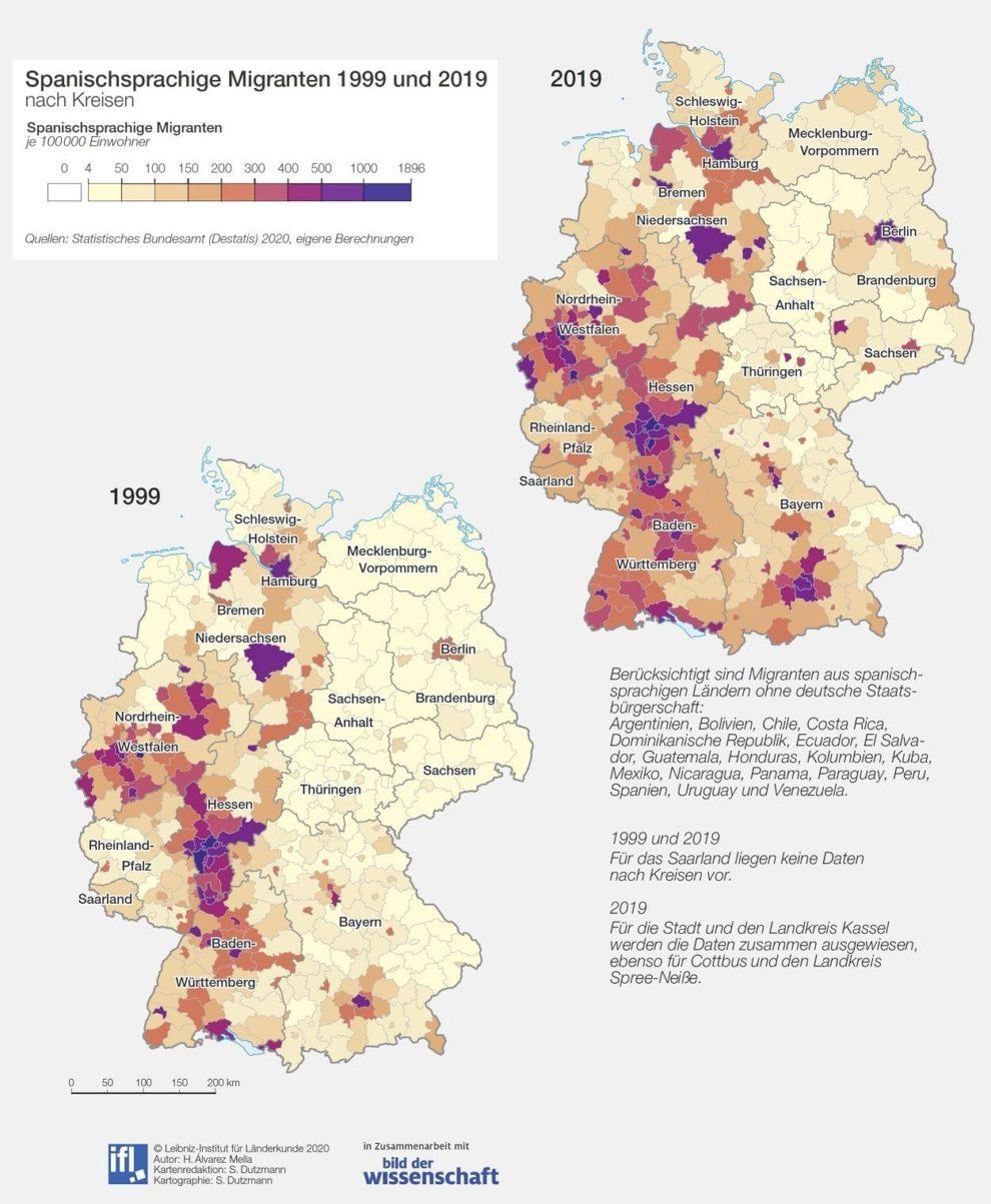D-Karte Spanischsprachige Migranten