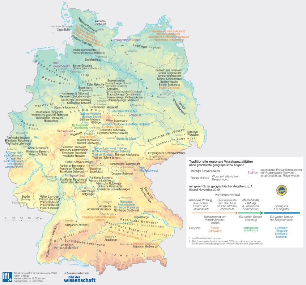 Karte regionale Wurstspezialitäten