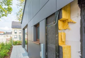 Thermal insulation panels on the house wall