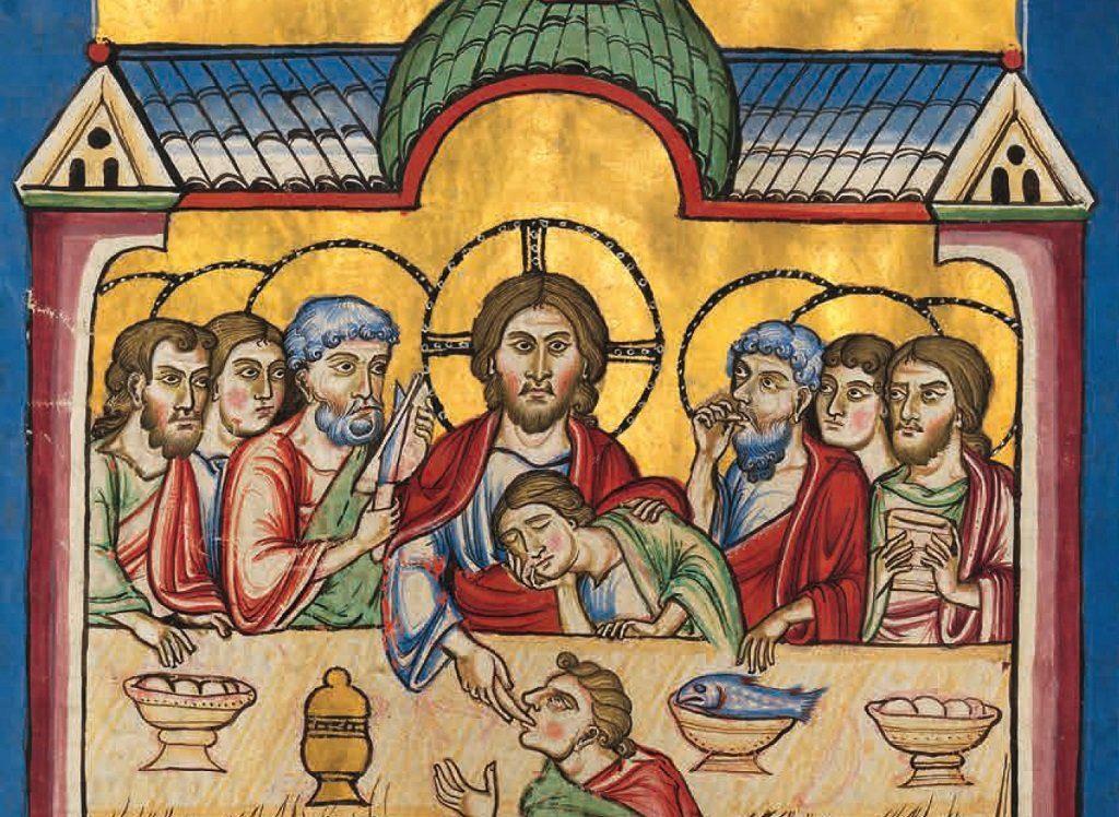 Abendmahlsszene aus dem Das Brandenburger Evangelistar