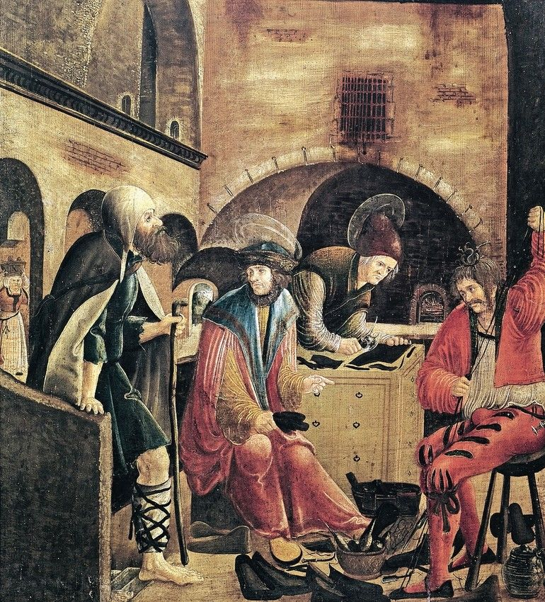 1086550_School_of_Saints_Crispin_and_Crispian,_painting_by_an_unknown_artist_from_the_Danube_school,_16th_century;_Österreichisches_Museum_Für_Angewandte_Kunst_,_Vienna,_Austria;_(add.info.:_School_of_Saints_Crispin_and_Crispinian,_painting_by_an_unknown_