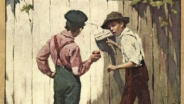 3105559_Dust_Jacket_for_The_Adventures_of_Tom_Sawyer_by_Mark_Twain_(1835_-_1910),_pub._1910_(colour_litho)_by_Brehm,_Worth_(1883-1928);_Private_Collection;_The_Stapleton_Collection;_American,__out_of_copyright.