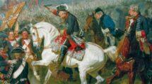 """_Schlacht_bei_Zorndorf_25._August_1758_(Preußen_unter_Friedr._d._Gr._siegt_über_die_Russen_unter_Graf_Fermor).__""""Die_Schlacht_bei_Zorndorf""""._Ausschnitt:_Friedrich_der_Große.__Gemälde,_1858,_von_Emil_Hünten_(1827–1902)._Öl_auf_Leinwand,_112_x_180_cm._Priva"""