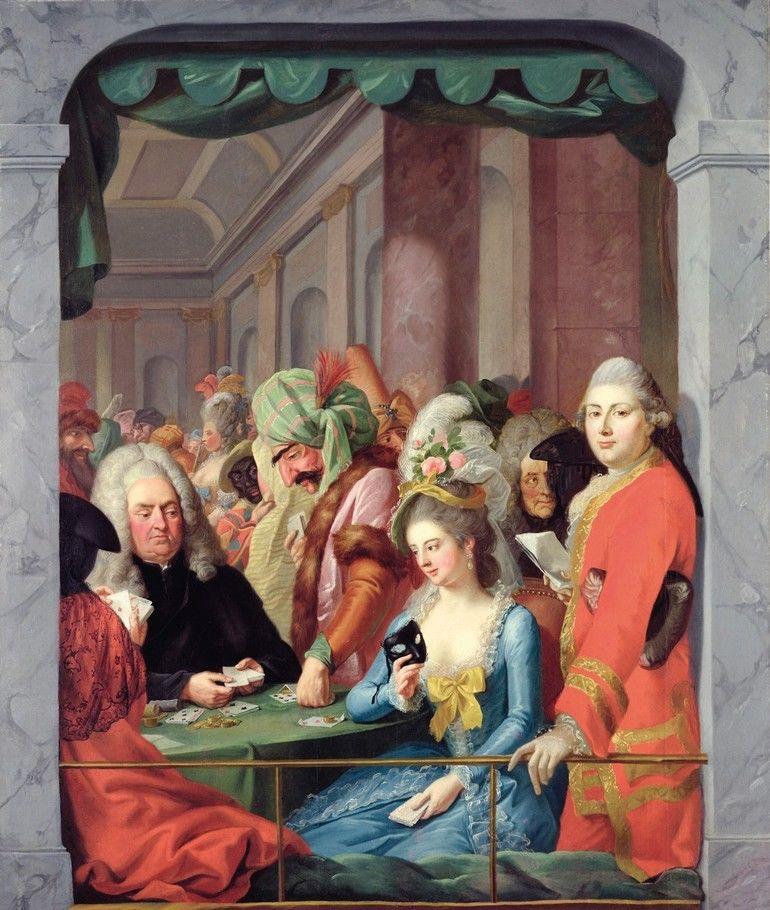 KSL263994_Masked_Personalities_of_the_Kassel_Court_(oil_on_canvas)_by_Tischbein,_Johann_Heinrich_(1722-89);_200x168_cm;_Neue_Galerie,_Kassel,_Germany;_(add.info.:_Maskenszene_mit_Kasseler_Persoenlichkeiten;_man_of_right_is_Giuseppe_Morelli,_a_famous_singe