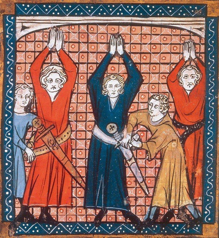_Ritterschlag.__Drei_Knappen_erhalten_den_Ritterschlag.__Buchmalerei,_13._Jahrhundert._Aus_einer_französ._Handschrift._London,_British_Library.