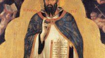 """Lorenzo_Veneziano_nachweisbar_1356–1372.__""""Der_Heilige_Augustinus"""".__(Aurelius_Augustinus,_Kirchenlehrer_und_Heiliger,_354–430)._Tempera_und_Goldgrund_auf_Holz._Pavia,_Pinacoteca_Malaspina."""