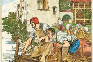"""_Gerber.__""""Die_trauernden_Lohgerber"""".__(Den_Lohgerbern_schwimmen_die_Felle_weg)._Kupferstich,_undat.,_von_Funcke_nach_Gemälde,_1832,_von_Adolf_Schroedter_(1805–1875)._Spätere_Kolorierung."""
