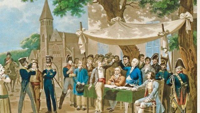 """_Rekrutierung_durch_Losverfahren_(""""Tirage_au_sort"""")_ab_28._Dezember_1803_(Gesetz_vom_26._August_1803).__""""Tirage_au_sort_pour_la_conscription"""".__Farbkupferstich_nach_Hippolyte_Lecomte_(1781–1857)._Privatsammlung."""