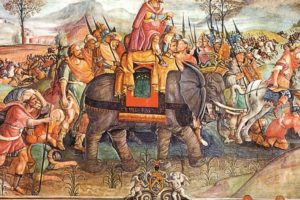 HANNIBAL_(249-183_a.C.)_general_cartaginese_transported_from_an_elephant,_guides_its_army_through_the_Alps_in_order_to_attack_the_roman_army_behind,_218_a.C._Stampa_from_painting_of_the_16th_century