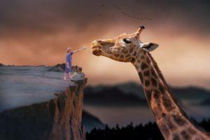 Truamszene, Junge mit Giraffe