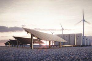 Solarpanels und Windräder